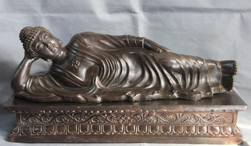 10 Tibet Buddhism Temple Copper Bronze Lie Down To Sleep Sakyamuni Buddha Statue