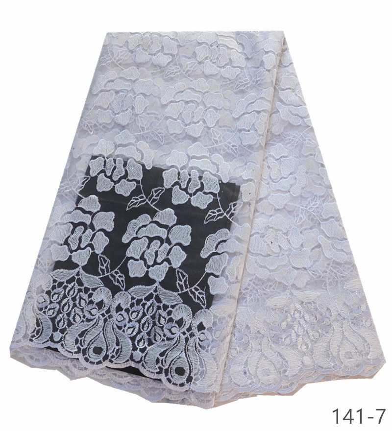 wholesale White Lace african lace fabric 2019 high quality white lace fabric latest french nigerian lace fabric 5 yards piece in Lace from Home Garden