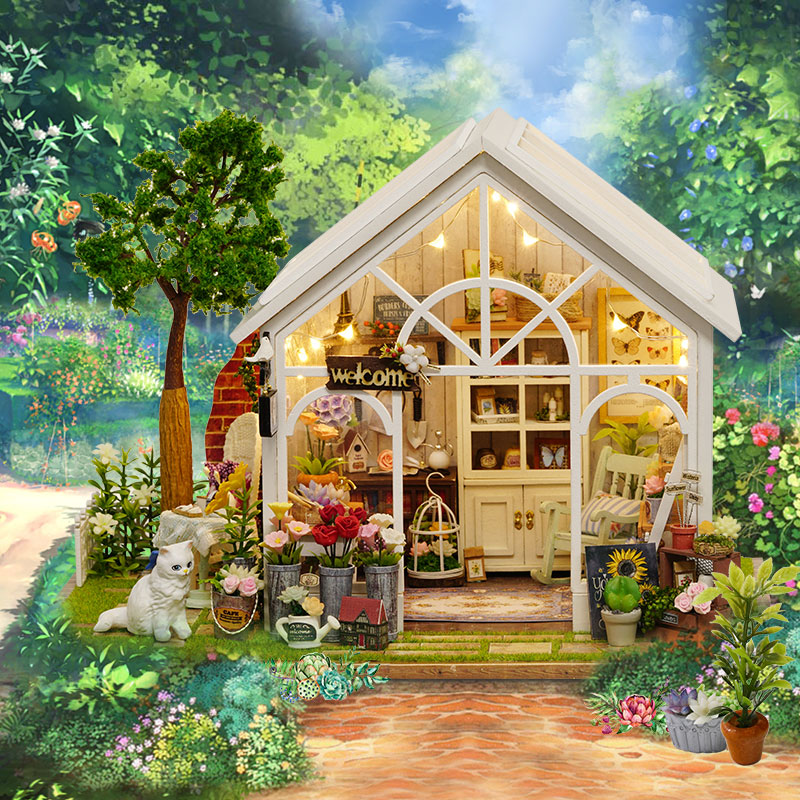 Doll House Diy miniature Wooden Puzzle Dollhouse miniaturas casa de boneca For Birthday Christmas Gifts poppenhuis-Sunshine Gree miniature house shape diy art 3d jigsaw puzzle