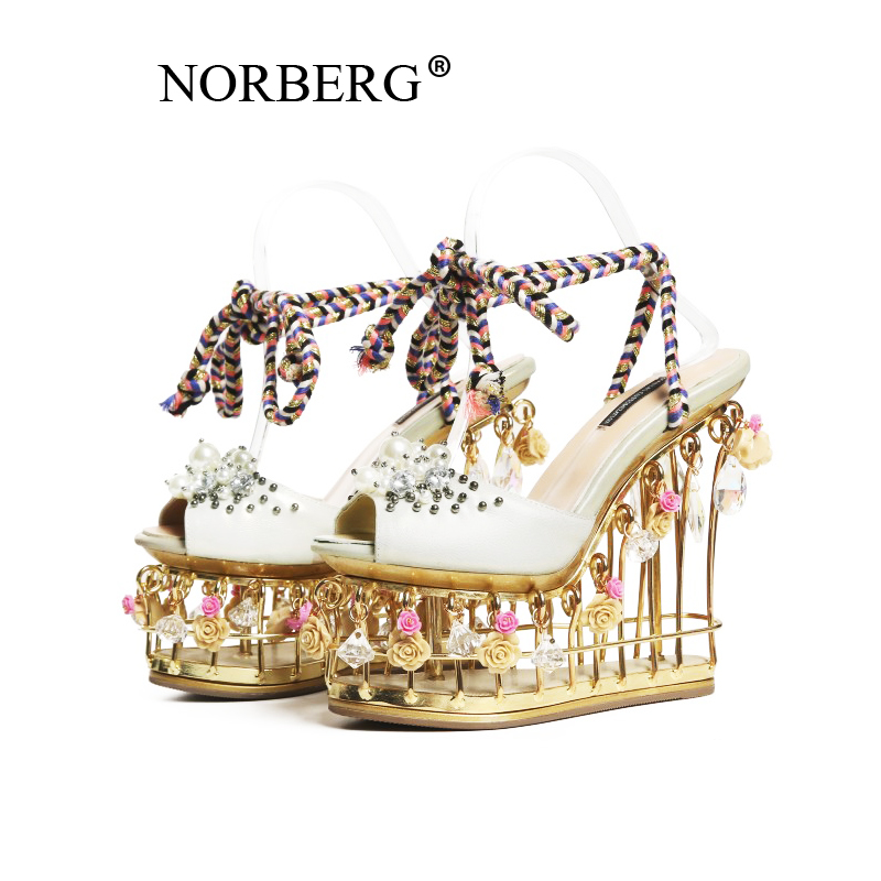 NORBERG light green flower sandals female super high with 15cm thick bottom wedding shoes with buckle high end party shoes femal in High Heels from Shoes