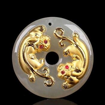 New Arrival 24K Yellow Gold Dragon Son Pendant White Jadeite Round Circle Pendant