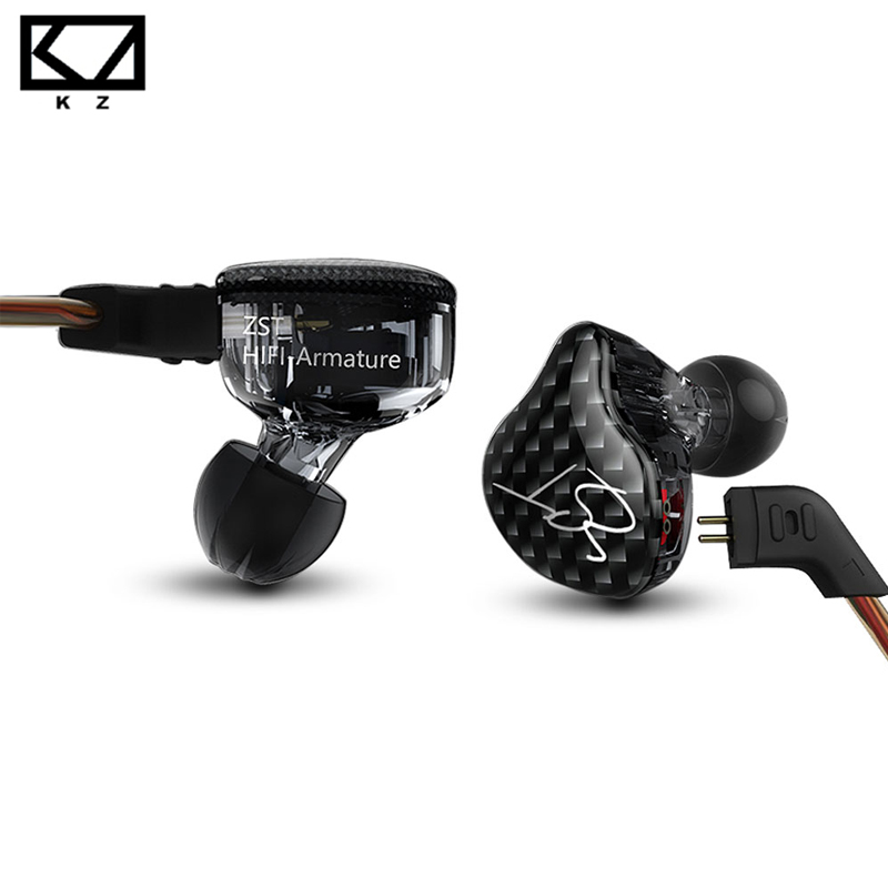KZ ZST Armature Dual Driver Earphone Detachable Cable In Ear Audio Monitors Noise Isolating HiFi Music Sports Earbuds kz ed12 custom style earphone detachable cable in ear audio monitors noise isolating hifi music sports earbuds with microphone