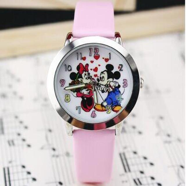 New Cute cartoon quartz wristwatch children leather watch Mickey watches kids bo