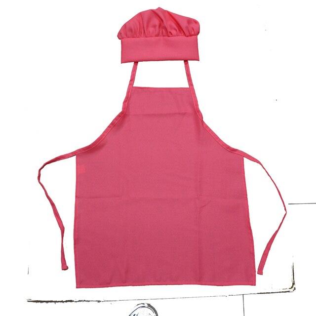 Kids Apron Set Chef Uniform Food Service Hats Cap Cooking Aprons For Children Kitchen