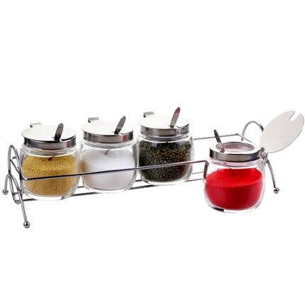 Accessoires de cuisine Houmaid bocaux et bouteilles de rangement en verre pour assaisonnement aux épices Pots de Sauce au sel avec étagère en acier inoxydable