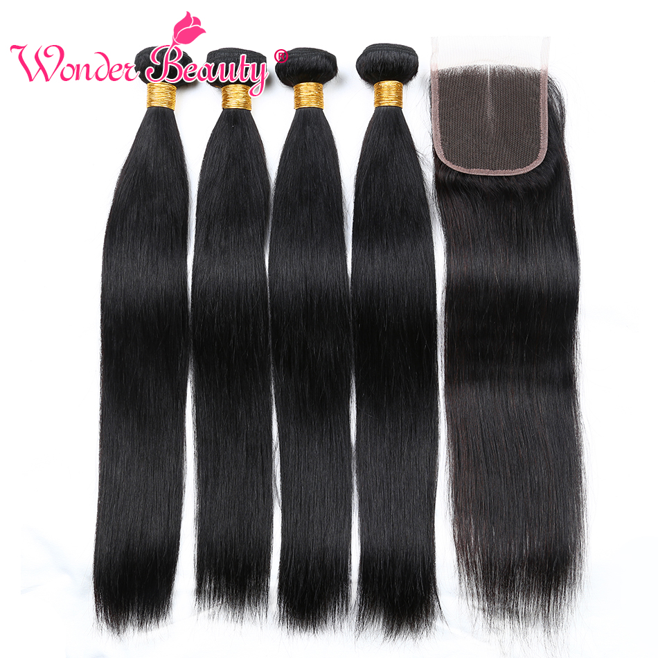 Wonder Beauty Peruvian Hair Straight 4 Bundles With Closure Middle/Free/Three part 5 bundles deal non Remy weaves Free Shipping