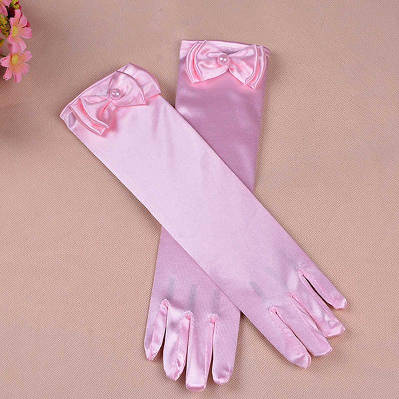 gloves for girls Long princess gloves girls wedding dress glove bow costume accessories satin gloves birthday gift blue