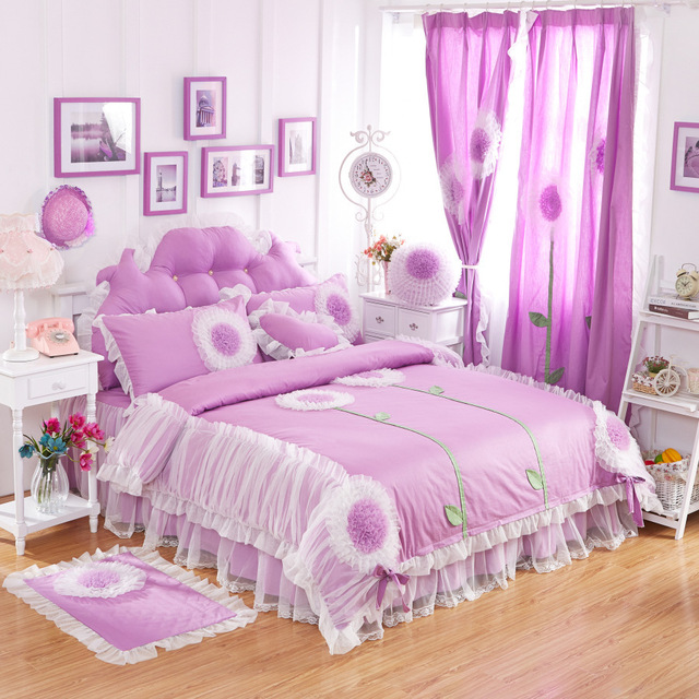 Charmant Lace Edge Princess 4pc Bedding Set King Queen Size Home Textile Purple/pick /red