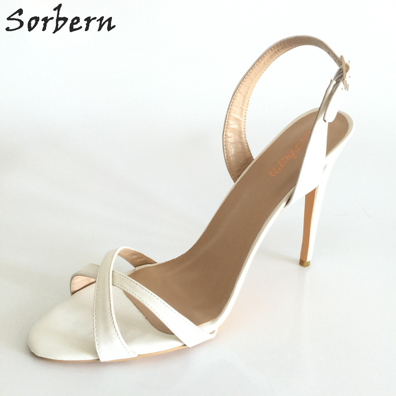 купить Sorbern White Criss-Cross Straps Slip-On Sandals For Women Shoes High Heels Sandalia Feminina Salto Alto Ladies Designer Sandals по цене 4948.13 рублей