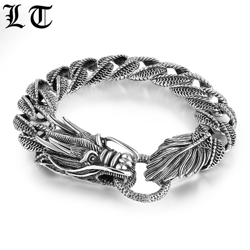 LT Gothic 925 Sterling Silver Dragon Curb Chain Bracelet Men Thai Vintage Style Link Handcrafted Punk Vintage Jewelry For Male gagafeel vintage 925 sterling silver chain man necklace dragon head thai silver necklace for men jewelry punk style high quality