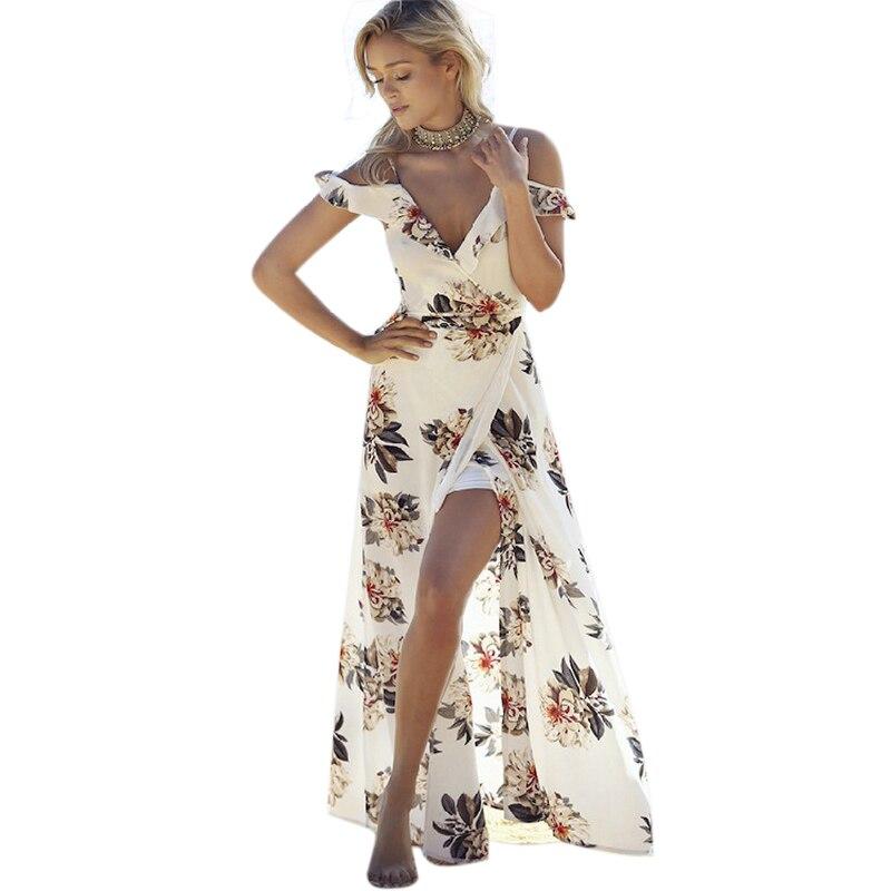 1759 20 De Descuentoforerun 2017 Verano Vestido Largo Mujer Chifón Playa Vestido Floral Cuello En V Bohemio Maxi Vestido Volantes Espalda