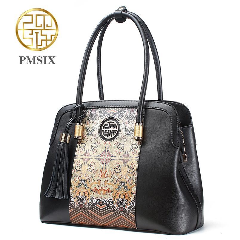 Genuine Leather handbag  Pmsix  2016 new fashion shoulder Messenger Bag China wind printing handbags