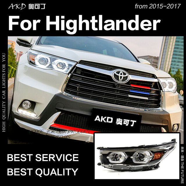 Akd Car Styling For Toyota Highlander Kluger Led Headlight 2017 Drl Hid Head