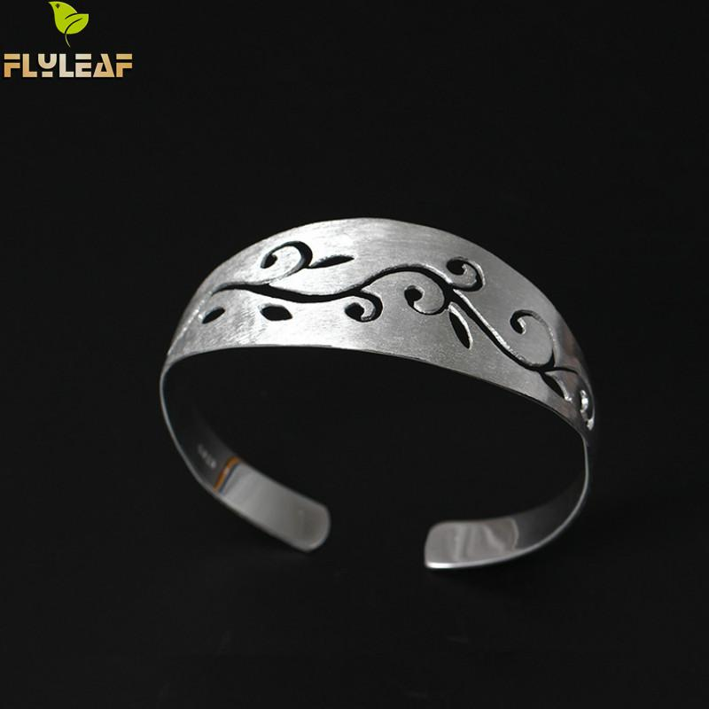 Flyleaf 100% 925 Sterling Silver Hollow Vines Open Cuff Bracelets & Bangles For Women High Quality Lady Ethnic Style Jewelry punk style floral hollow out cuff ring for women