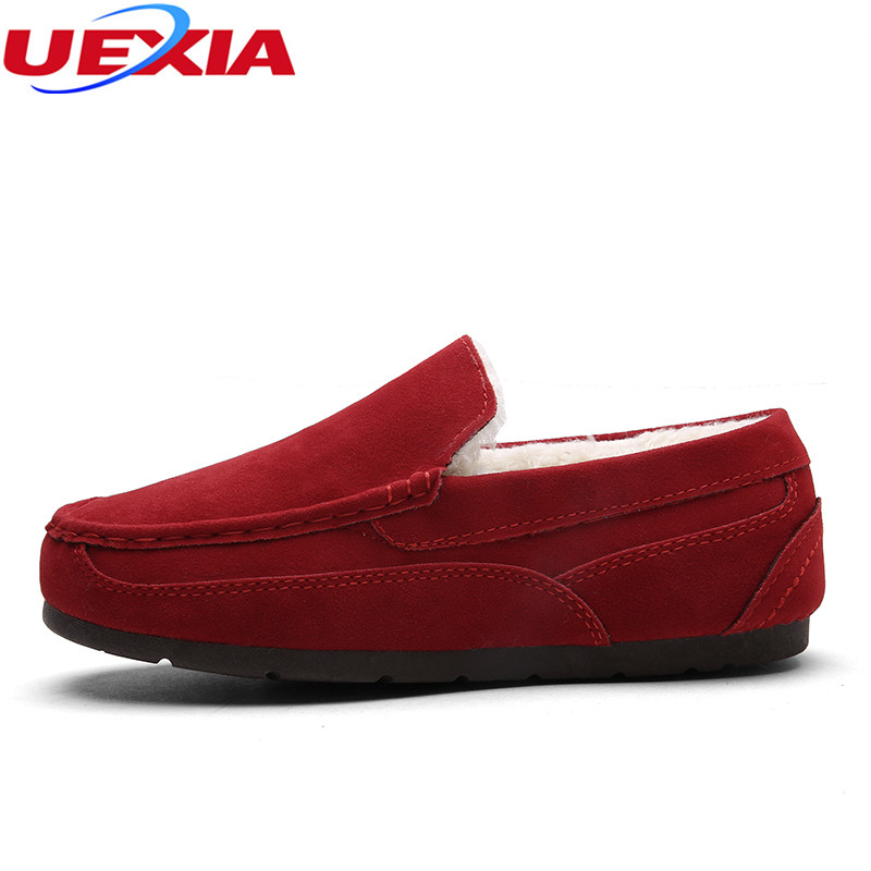 UEXIA Winter Women Loafers Women Flat Heel Shoes Woman Ballet Plain Flats Fur Warm Cotton Plush Casual Shoes With Fur Mocassin new 2016 european brand designer winter warm flats black leather rabbit fur loafers metal decorated hot sell flat shoes women