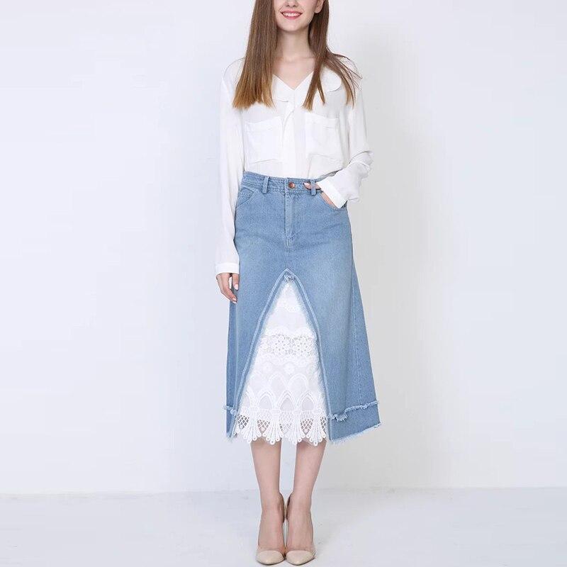 Юбка джинсовая длинная с кружевом
