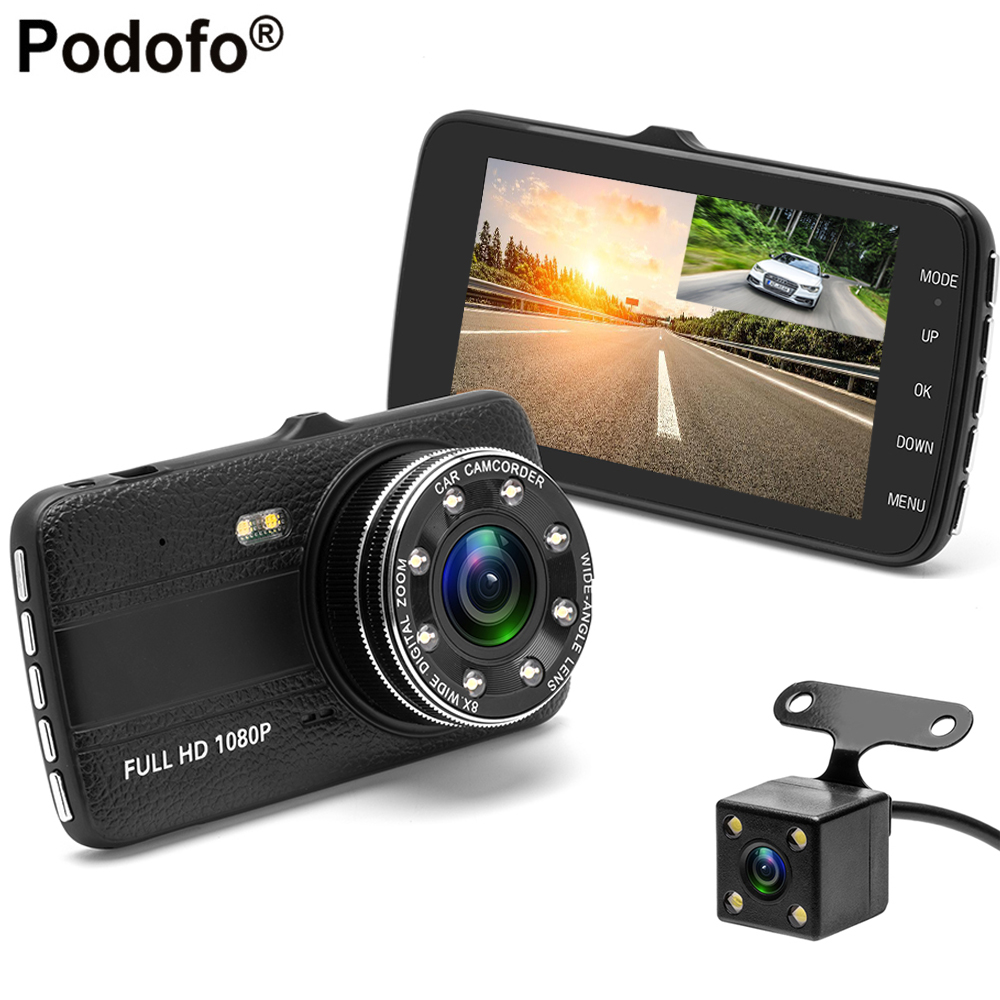 Podofo 4.0 Inch IPS Screen Car DVR Full HD 1080P Dual Lens Car Camera Night Vision Dash Cam With Rear View Camera Camcorder DVRs