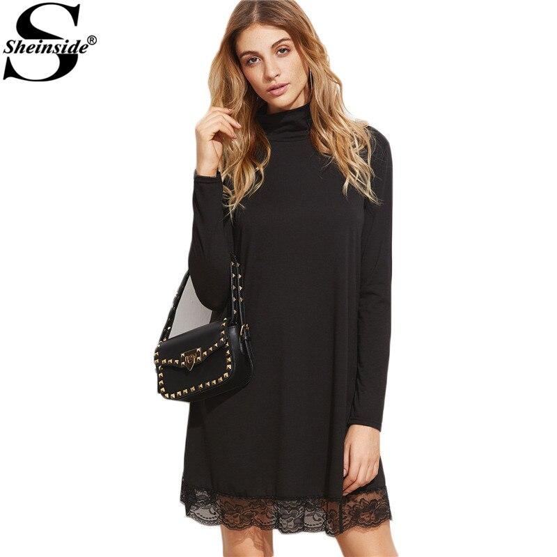 9d137d8733 Sheinside Women Dress Elegant Turtleneck Dress Korean Women Dress Winter  Loose Fashions Black High Neck Lace Hem Shift Dress -in Dresses from  Women s ...