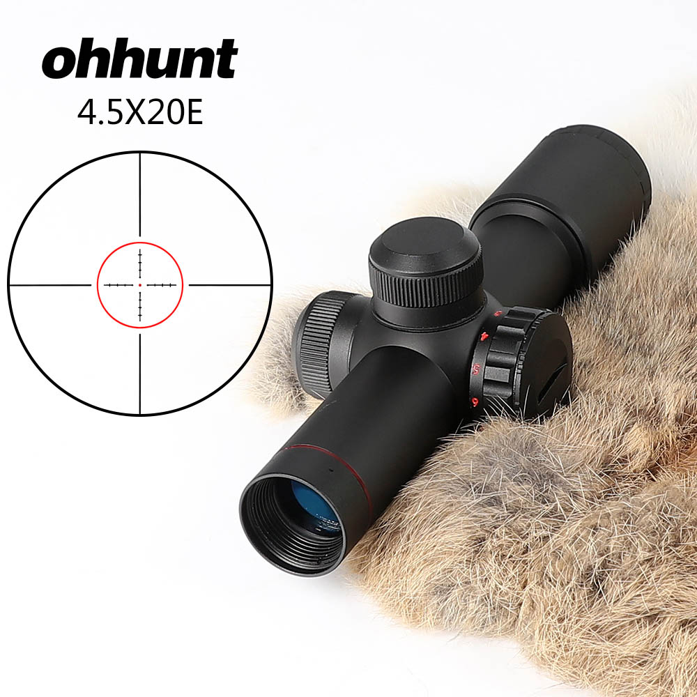 ohhunt 4.5x20E 1 Inch Hunting Optics Compact Riflescopes Red Illuminated Glass Etched Reticle with Flip-open Lens Caps and Rings 4 1m red colour inflatable towable tube crazy ufo flying boat inflatable water sofa for summer water park