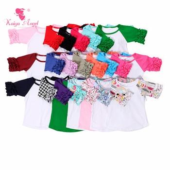 Icking Raglans T Shirt Girls Tops Half Sleeve Ruffle Shirts Floral Kids Clothing Icing Raglan - sale item Children's Clothing