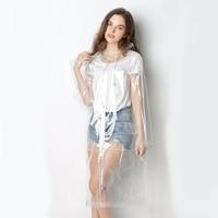 Freesmilyスーパー透明レインコート用女性ファッションeva防水レインポンチョコートで再利用可能な巾