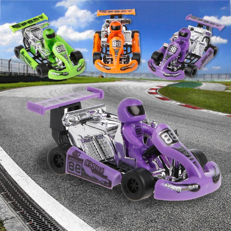 1PC Alloy Car Model Go-Kart Racing Game Sport Vehicle Plastic Motor Pull Back Toy Kids Toys Gifts Random Color go-kart