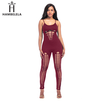 fa044e1990f HAMBELELA Solid Hole Sexy Summer Jumpsuits Bodysuit Women Rompers Sleeveless  Straps Off Shoulder Bodysuits Hollow Overalls