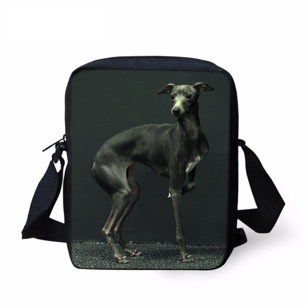 FORUDESIGNS Kawaii Animal Dog Greyhound Print Boys Messenger Bag Casual Book Shoulder Bag for Kindergarten Kids Crossbody Purse