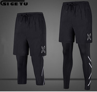 2018 New 2 Pieces Sports Leggings Running Tights Suit Men Skins Compression Tights Quick Dry Fitness Gym Running Clothes