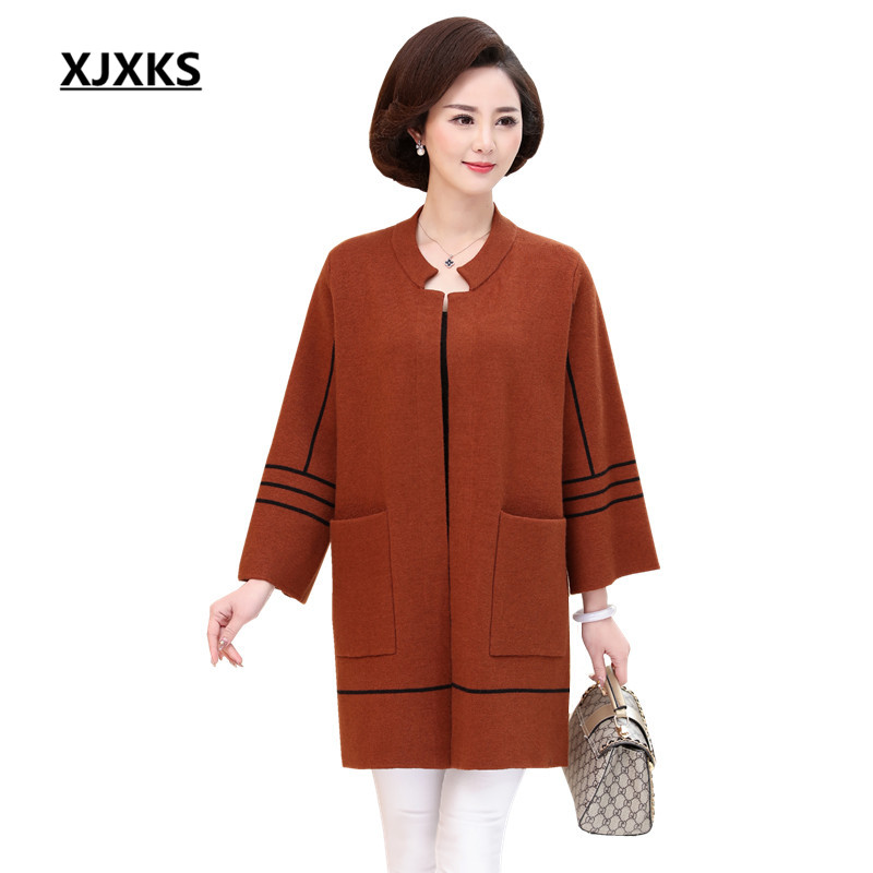 XJXKS Women Spring Outwear Cardigan Knitted Crocheted Mother 4 Colors Plus Size Sweater Oversized Knit Cardigans