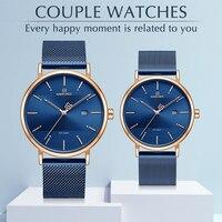 Casal relógios naviforce marca superior aço inoxidável relógio de pulso de quartzo para homens e mulheres moda casual presentes conjunto para venda