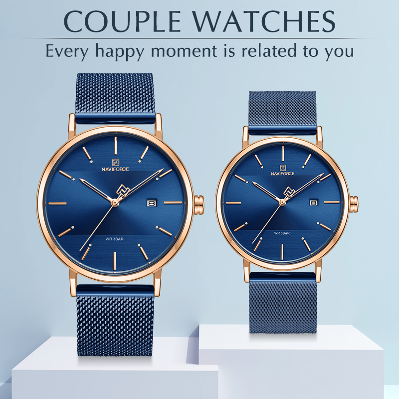 Couple Watch NAVIFORCE Top Brand Fashion Analog Quartz Watches for Men and Women Luxury Lovers Wristwatch Gifts give for lovers