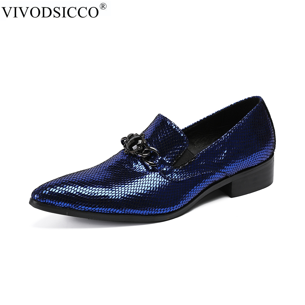 VIVODSICCO New Fashion Men Office Shoes Patent Leather Men Dress Shoes Blue Social Sapato Male Soft Leather Wedding Oxford Shoes zobairou sapato social oxford shoes for men genuine leather gold dress shoes men flats spiked loafers wedding shoes