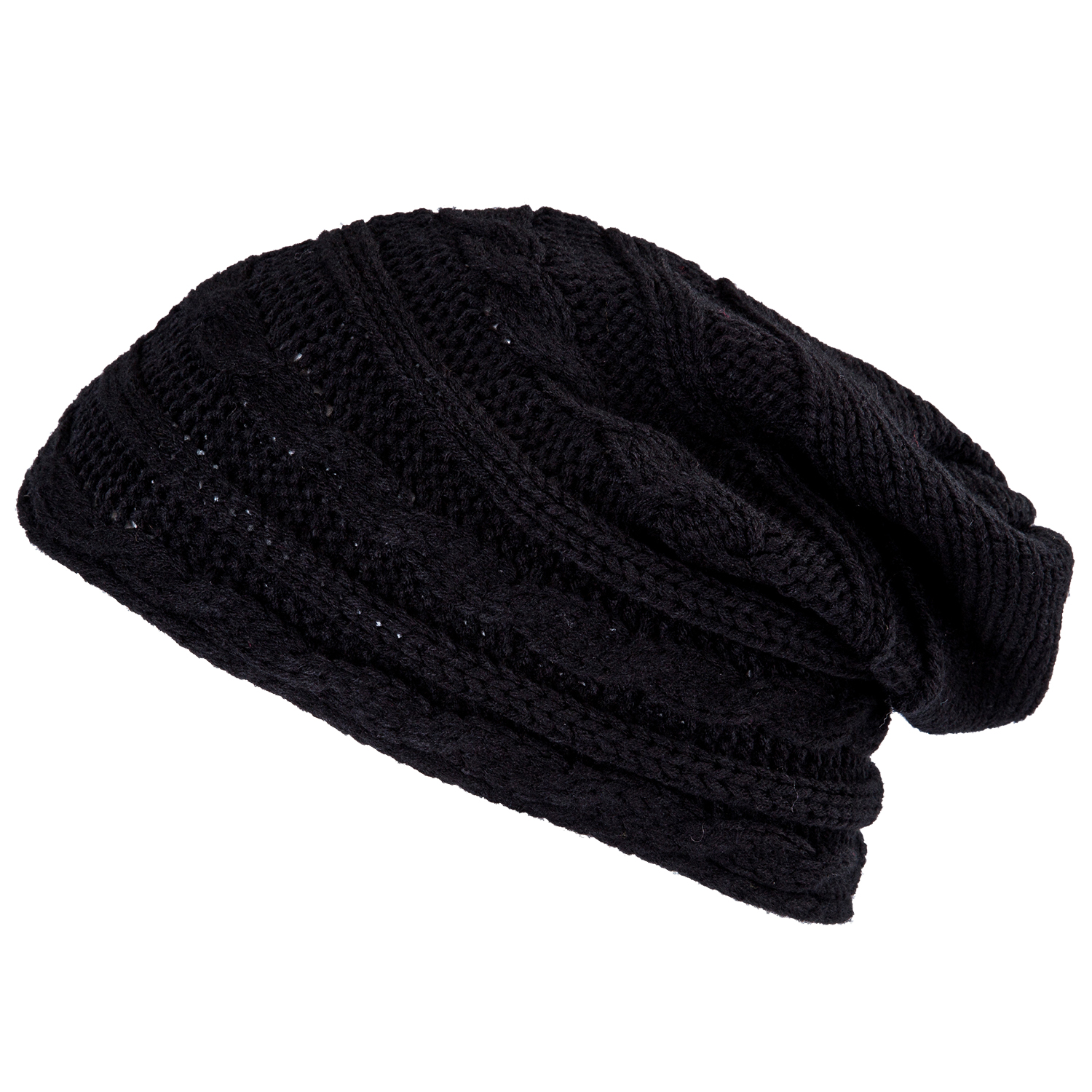 TFGS 10 x Winter Black Oversized Knit Baggy Beanie Slouch Hat Unisex Fashion Gift