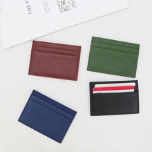 Business Black Red Genuine Saffiano Leather Card Holder ID Case Flat Credit