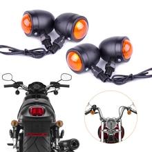 Motorcycle 4x 12V Bullet Turn Signal Indicator Lights Lamp Fit for Harley Bobber Chopper Yamaha Suzuki Kawasaki Dirt Bike Ducati