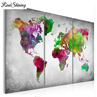 3pcs 5D DIY Abstract Diamond Painting Full Square Embroidery Sale world map Diamond Picture Rhinestone Mosaic office art FS5743