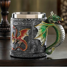 Game Of Thrones Dragon Mug Double Wall Stainless Steel Retro 3D Coffee Tea Cup Caneca Royal Creative Theme Resin Wine beer mugs(China)
