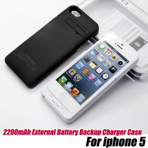5 unids/lot.2200mAh Cargador de Batería de Reserva Externa Del Caso Banco Power Pack para el iphone 5, envío libre