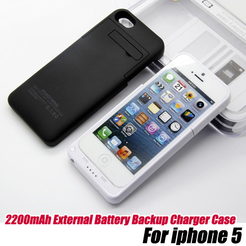 5pcs/lot.2200mAh External Battery Backup Charger Case Pack Power Bank for iPhone 5,free shipping