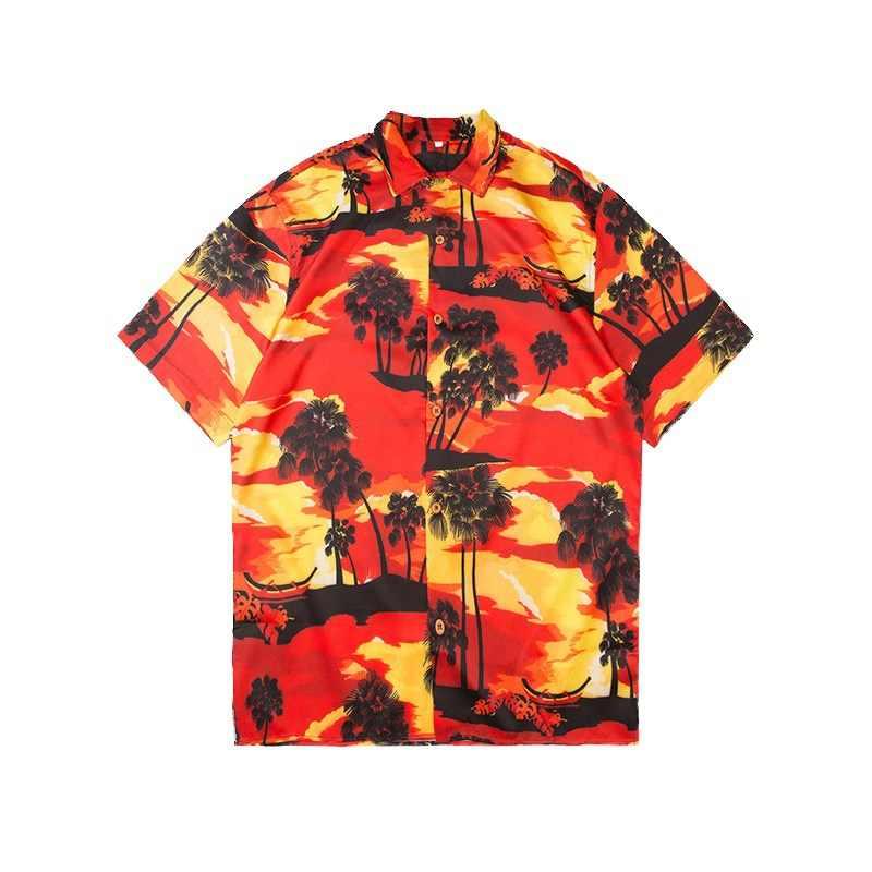 Гавайи Мужская рубашка навыпуск с ярким рисунком Для мужчин Винтаж Sunset Full принтом летнее пляжное платье в стиле «панк» в стиле «хип-хоп» для отдыха топ-безрукавка в уличном стиле короткий рукав мужской рубашки для мальчиков