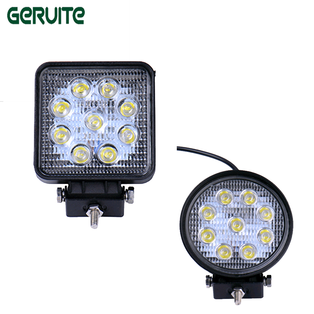 1pc 4D LED Light Bar Car styling 27W offroad Spot/Flood/Combo Beam 24V Driving Work Lamp for Truck SUV ATV 4x4 4WD Round/square