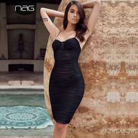 2c22b90a92585 NewAsia Garden New Sexy Summer Dress Black Ruched Sheer Mesh Dress Women  Party Bodycon Dresses Mini