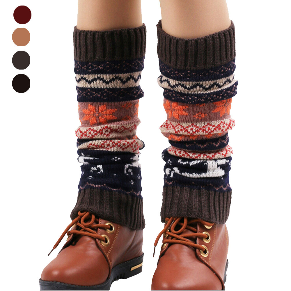 Womens Winter Leg Warmers Socks Soft Stretch Fabric Knitted Socks Fashion Snow Deer Patchwork Knee Leg Socks Boot Cover Cuffs
