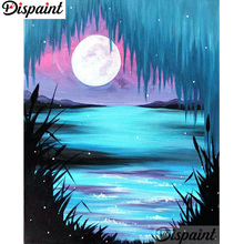 Dispaint Full Square/Round Drill 5D DIY Diamond Painting Moon night view 3D Embroidery Cross Stitch Home Decor Gift A12805 full square drill 5d diy girl elephant moon balloon night diamond painting cross stitch 3d embroidery kits home decor h39