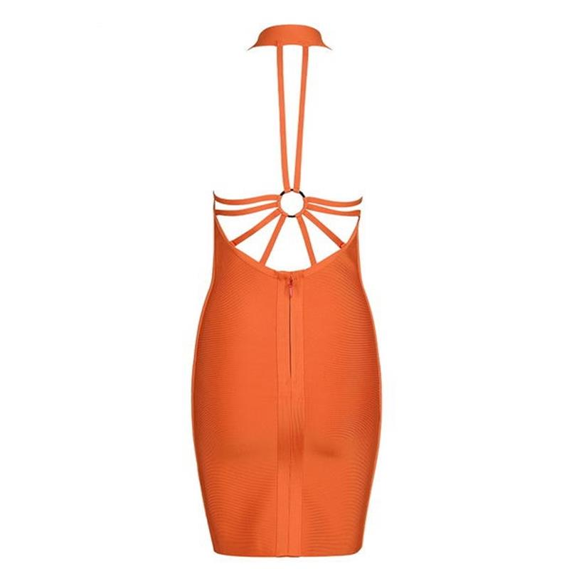 2017 New Arrival High Quality Summer Dress Sexy Backless Spaghetti Strap V Neck Women Orange Mini Party Bandage Dresses HL J919