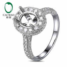 CaiMao Oval cut Semi Mount Ring Settings 0 92ct Diamond 14k White Gold Gemstone Engagement Ring