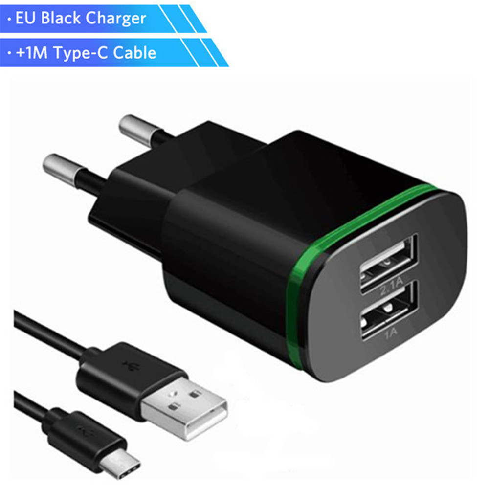 USB Type C Cable Charger 5V 2.1A USB Type-C Wall Charger Dual Mobile Phone Charger For LG G5 G6 G7 V20 V30 Nexus 5X 6P Cable
