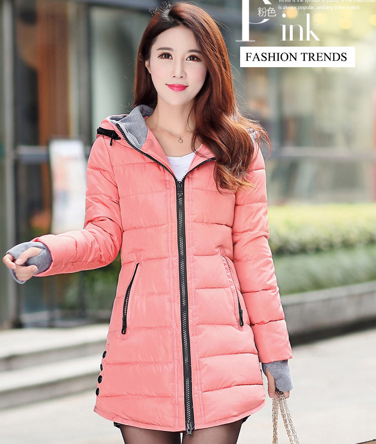 HTB1kH3sXwsSMeJjSspeq6y77VXaX 2019 women winter hooded warm coat slim plus size candy color cotton padded basic jacket female medium-long  jaqueta feminina