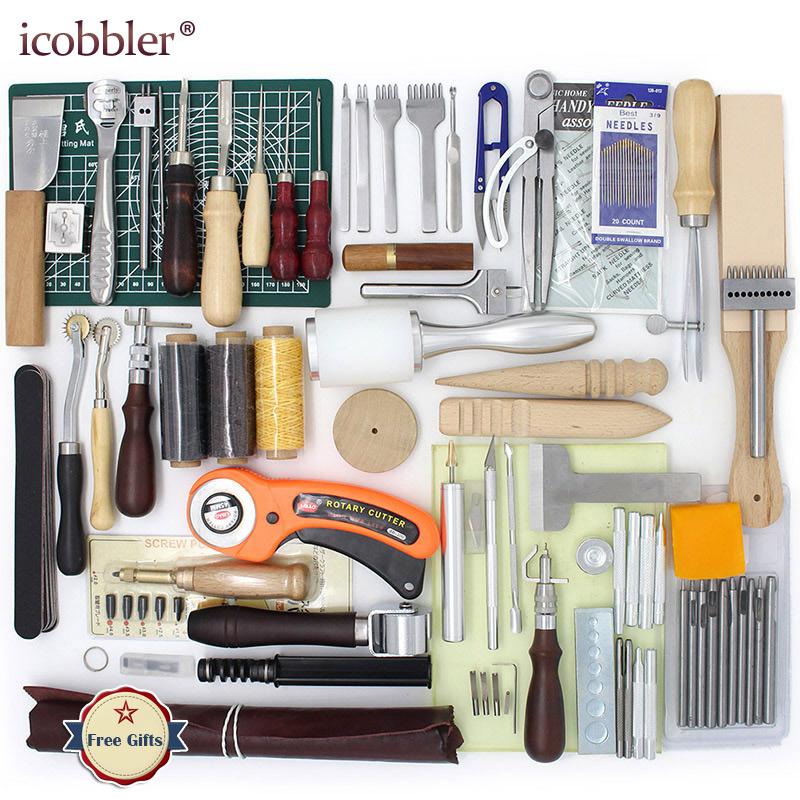 Leather Tools Craft Kit Hand Tools for Hand Sewing Stitching Stamping Set and Saddle Making Awl